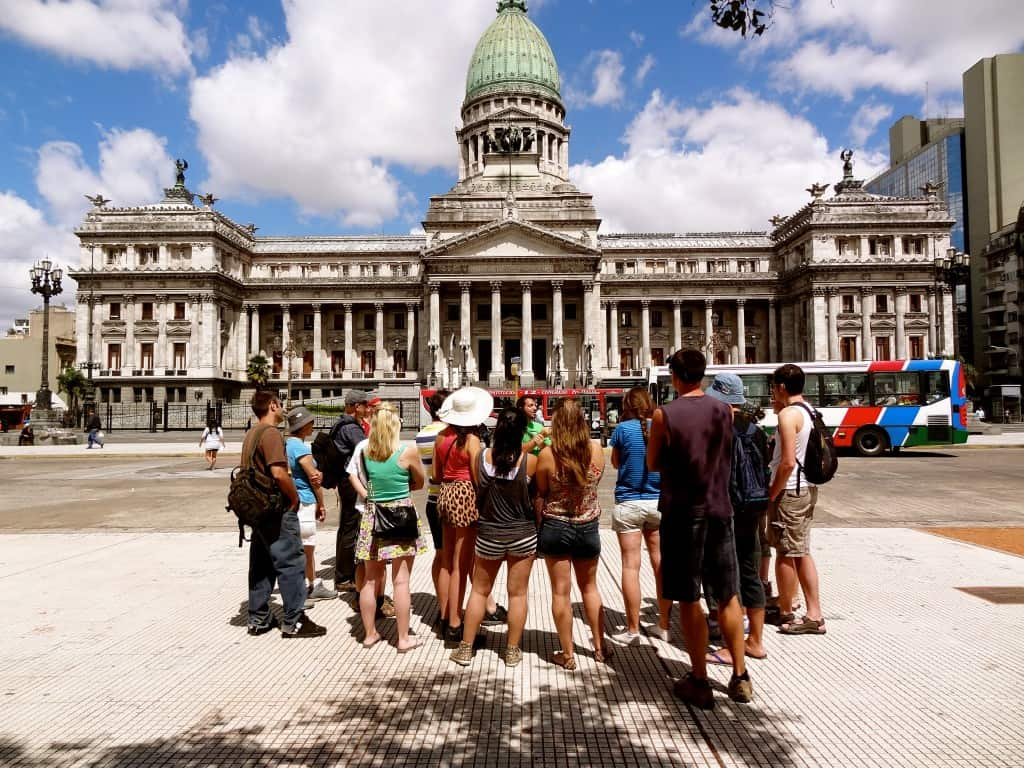 Walking tour of Buenos Aires in front of Congreso de la Nación Argentina