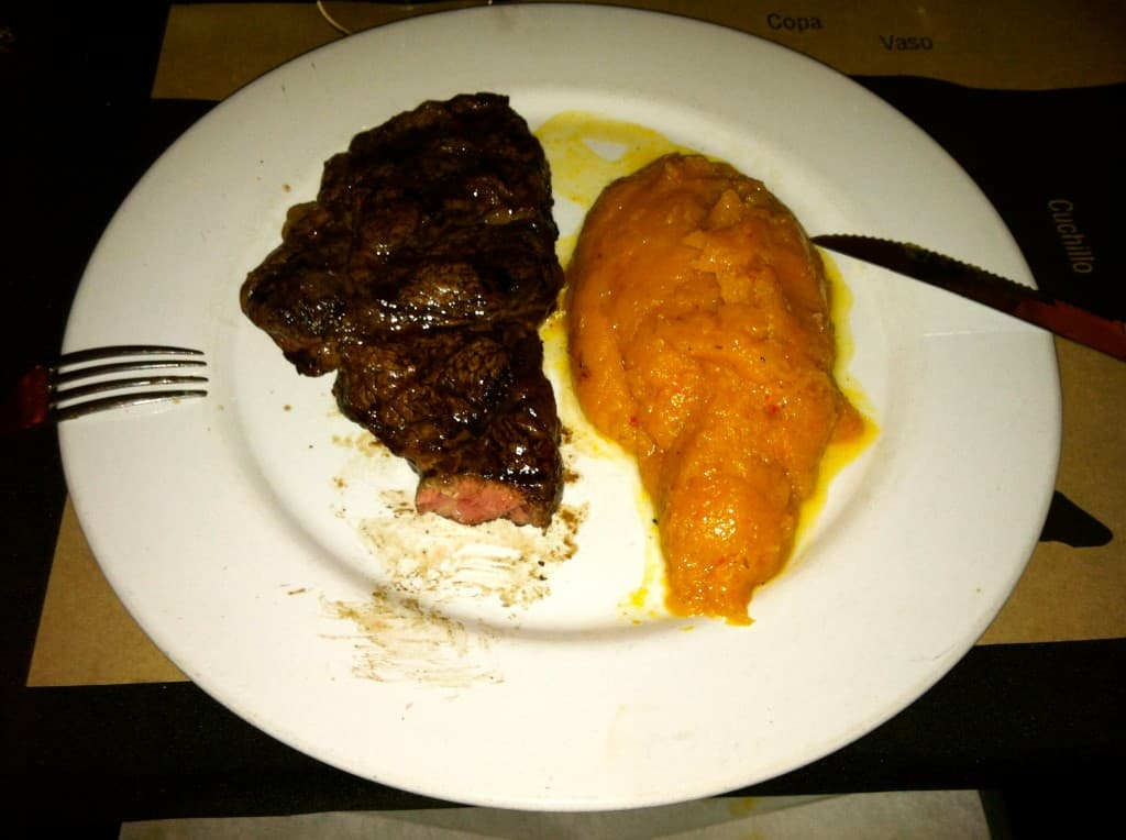 Argentinean steak and masshed pumpkin