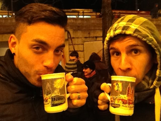 Sipping glühwein at the Christmas market