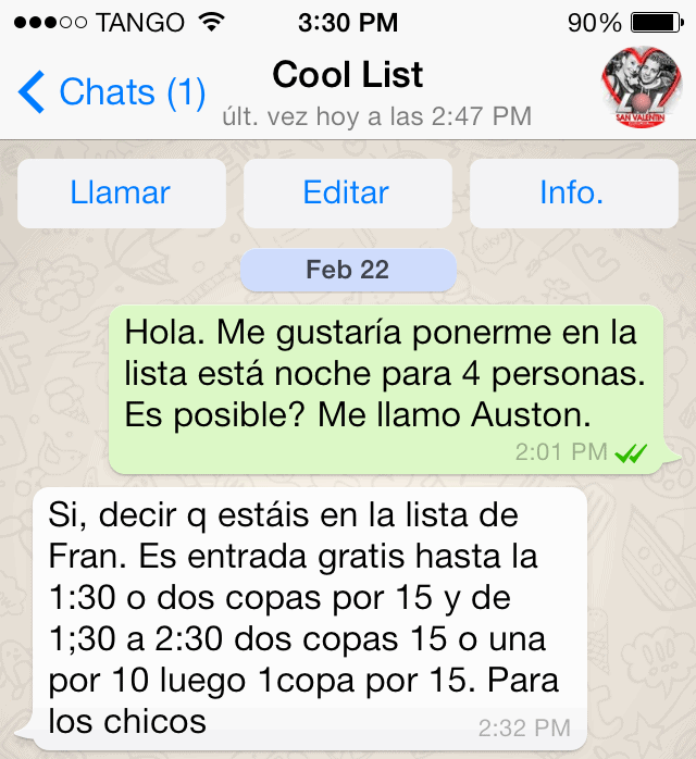 WhatsApp Message for Madrid Gay Club VIP List