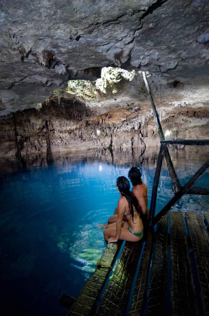 Cenotes near Puerto Morelos: underground caverns large large subterranean lakes