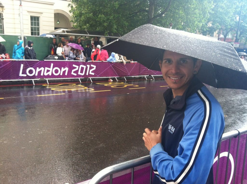 Walking to the train station in London, we saw a crowd waiting to see olympic road cyclists to go by