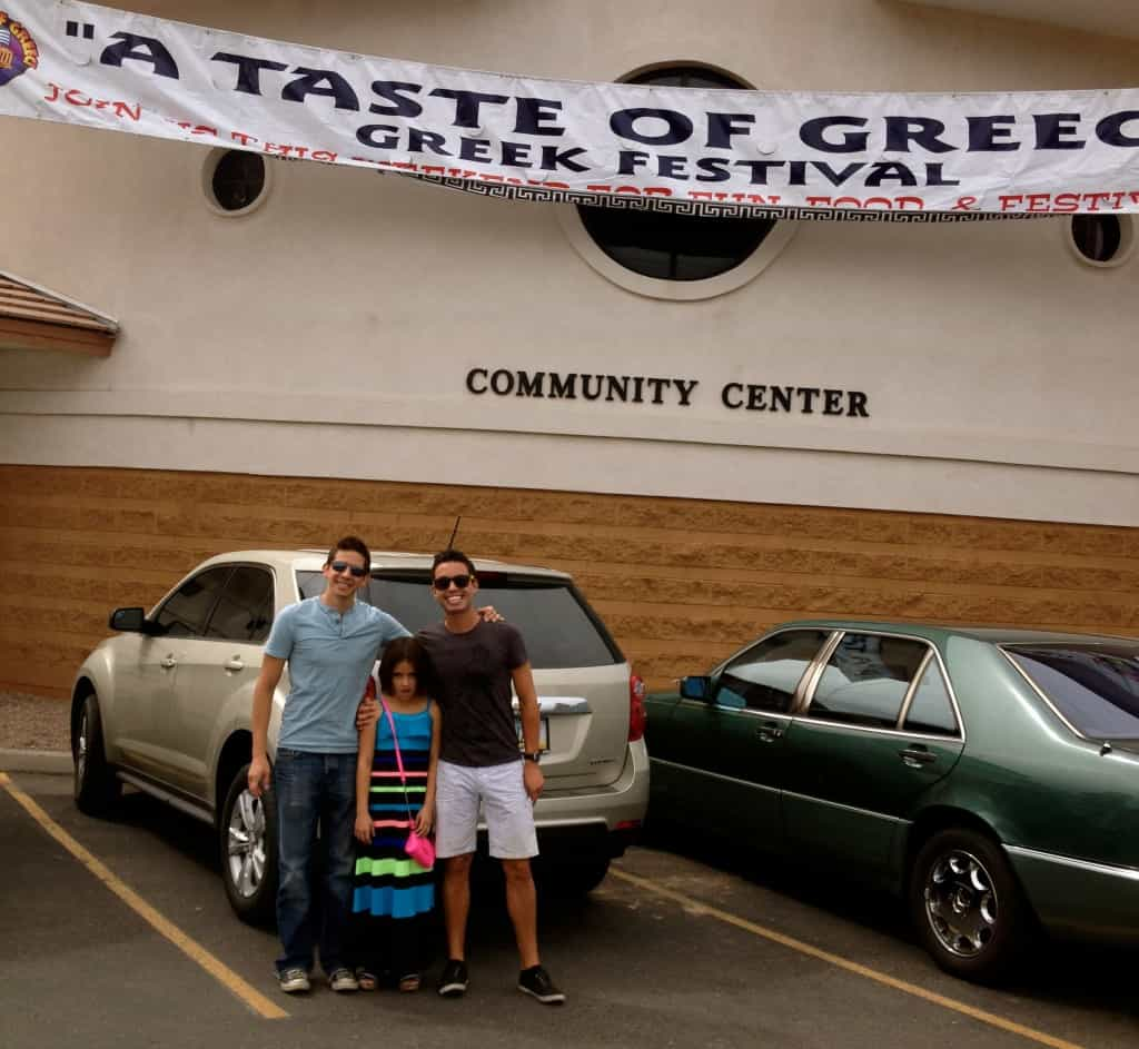 Auston and I with my niece Emma at a Greek festival in Arizona